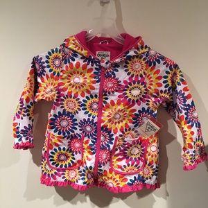NWT OshKosh B'gosh Girls floral raincoat size 6